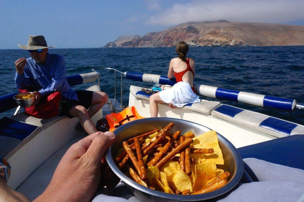 Snacks on palomino island boat tour