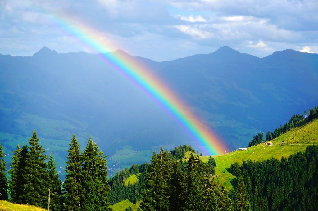 Rainbow over the Alps mountains near Kitzbuhel
