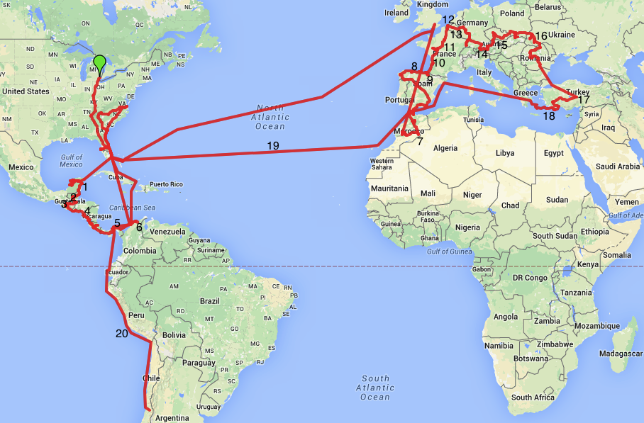 Our route map for our 2014 travels