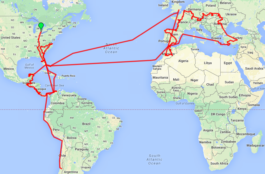 our route map from 2014 travels