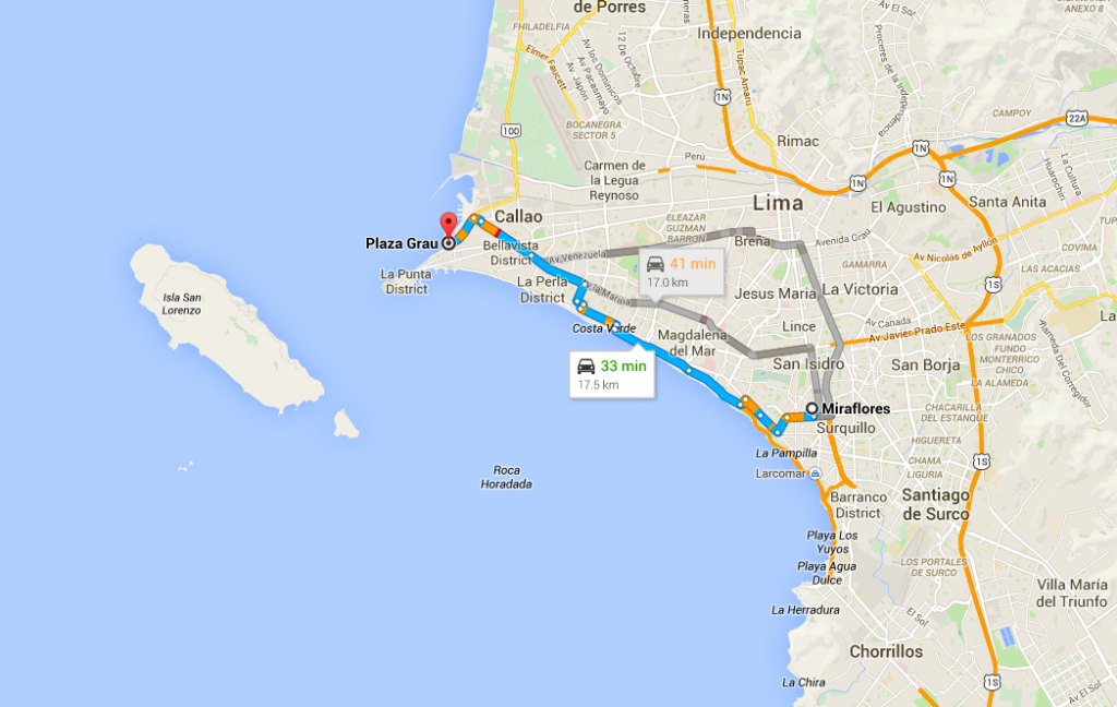 Map of directions from Miraflores to Callao Peru
