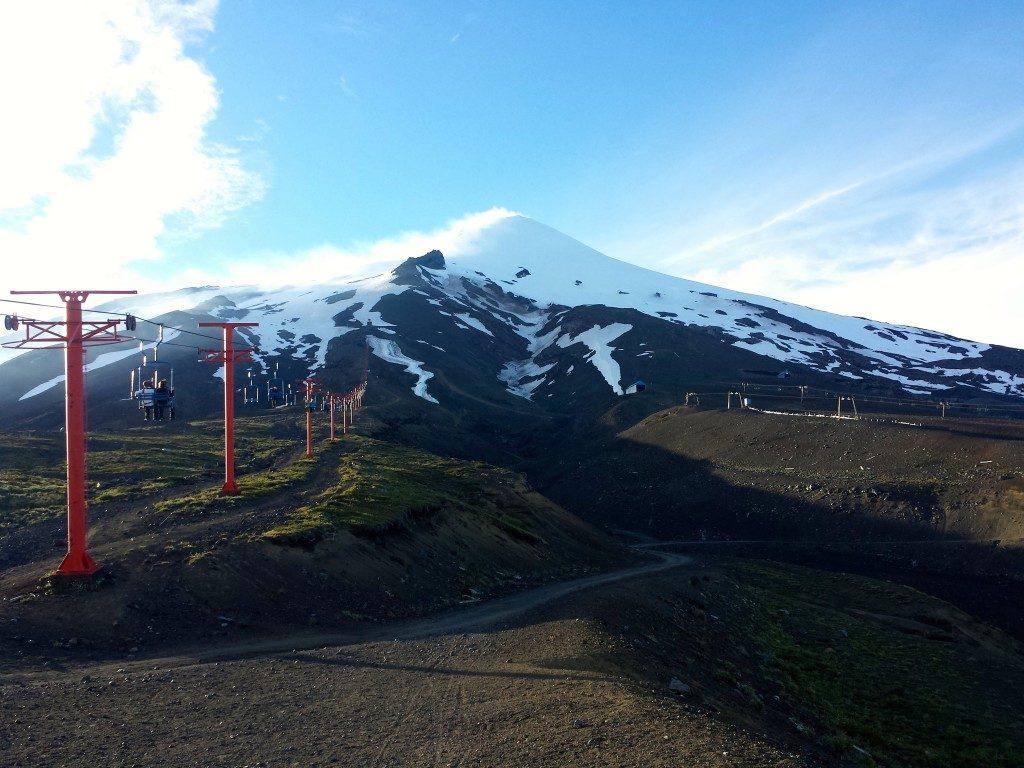 Chairlift going up the Villarrica Volcano