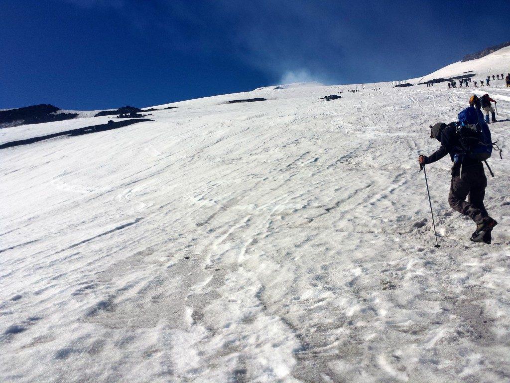 climbing up the Villarrica Volcano