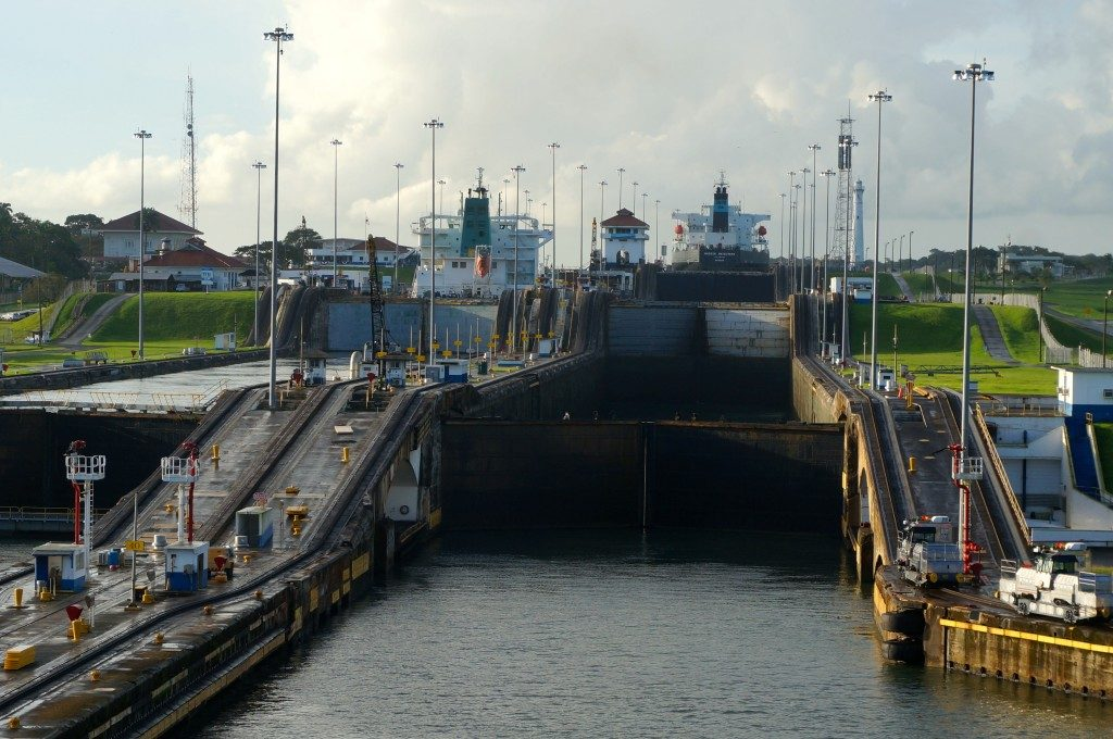 Entering the Gatun locks of the Panama Canal