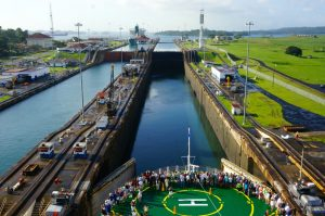 Bow of the Celebrity Infinity entering the Gatun Locks of the Panama Canal