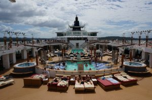 Celebrity Infinity pool while transiting the panama canal