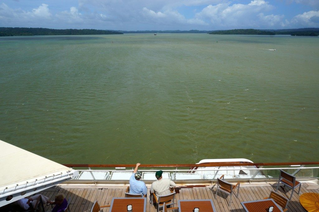 stern of celebrity infinity in lake gatun of the panama canal
