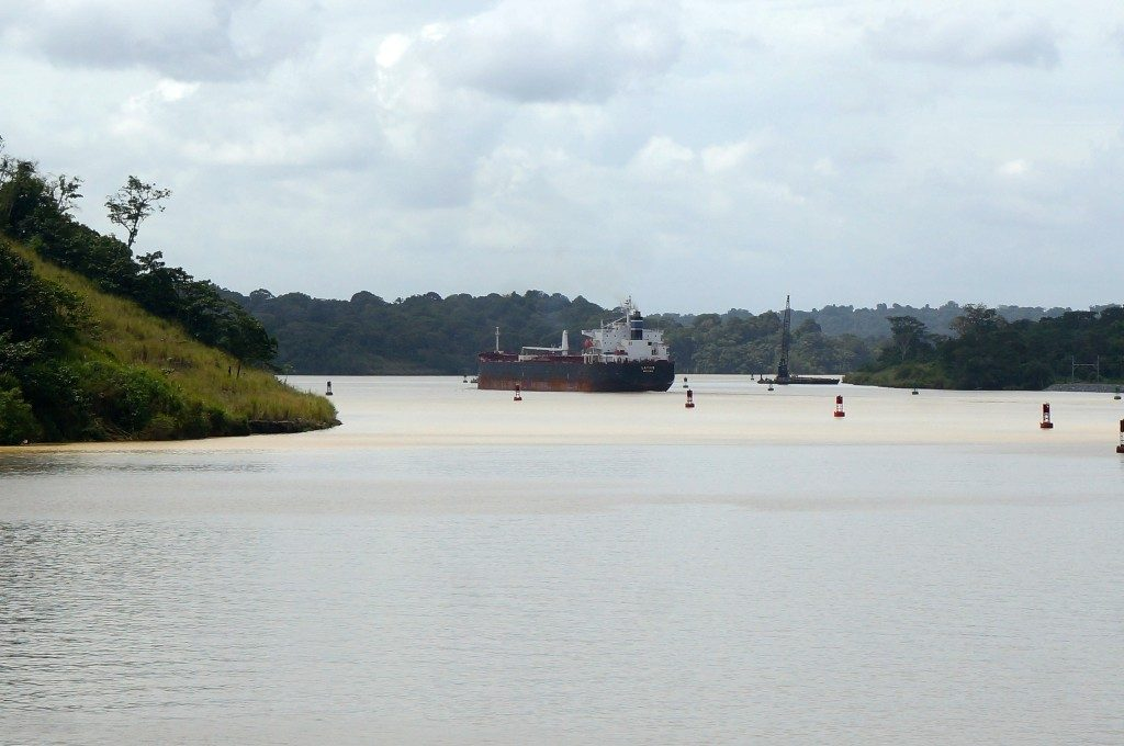 freighter in lake gatun of the panama canal