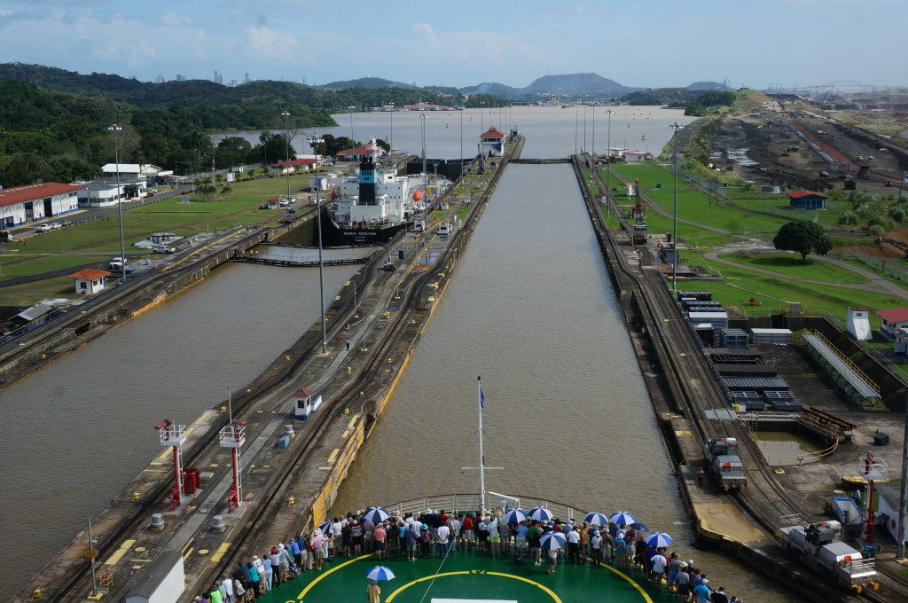 Celebrity Infinity lowering into the pedro miguel locks of the panama canal