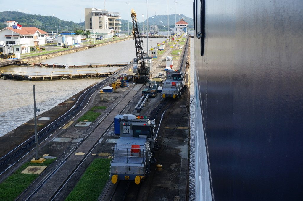 Transiting the Miraflores locks of the panama canal