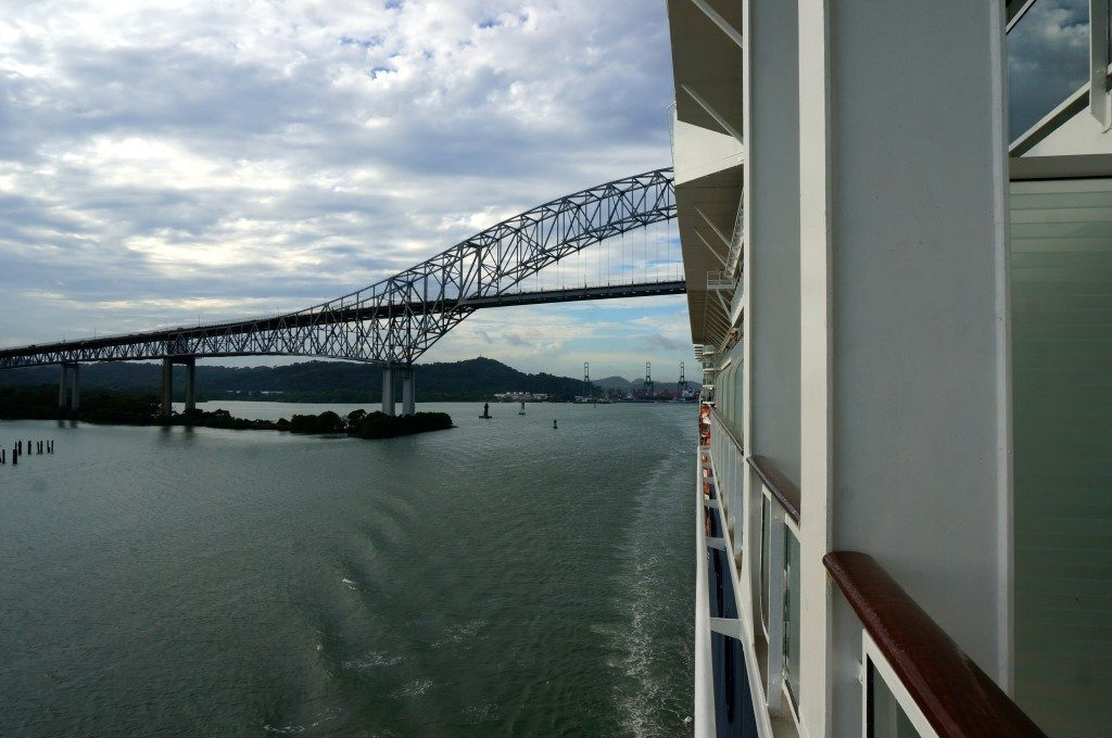 Approaching the Bridge of the America's on the panama canal