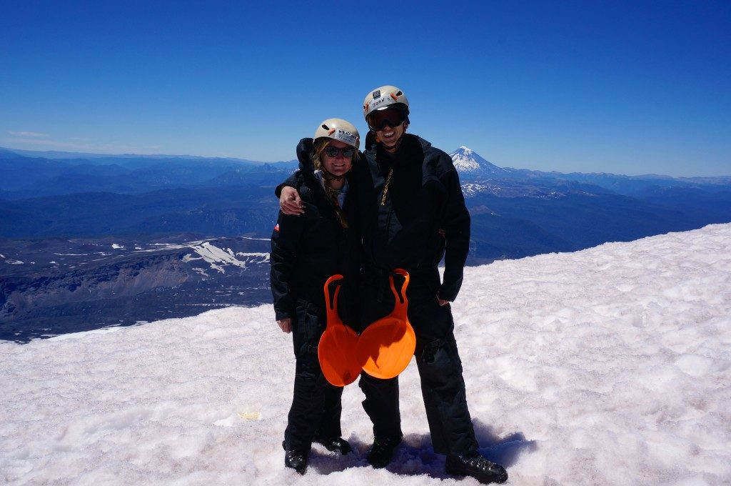 John and Heather standing atop Volcan Villarrica