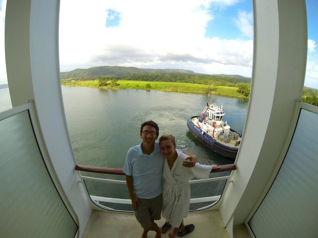 Heather and John in their stateroom of the Celebrity Infinity on the morning of the Panama Canal transit