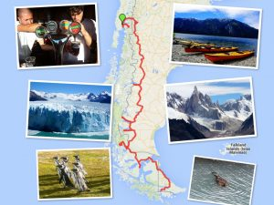 Route map and photos of month 14 travels through Chile and Argentina