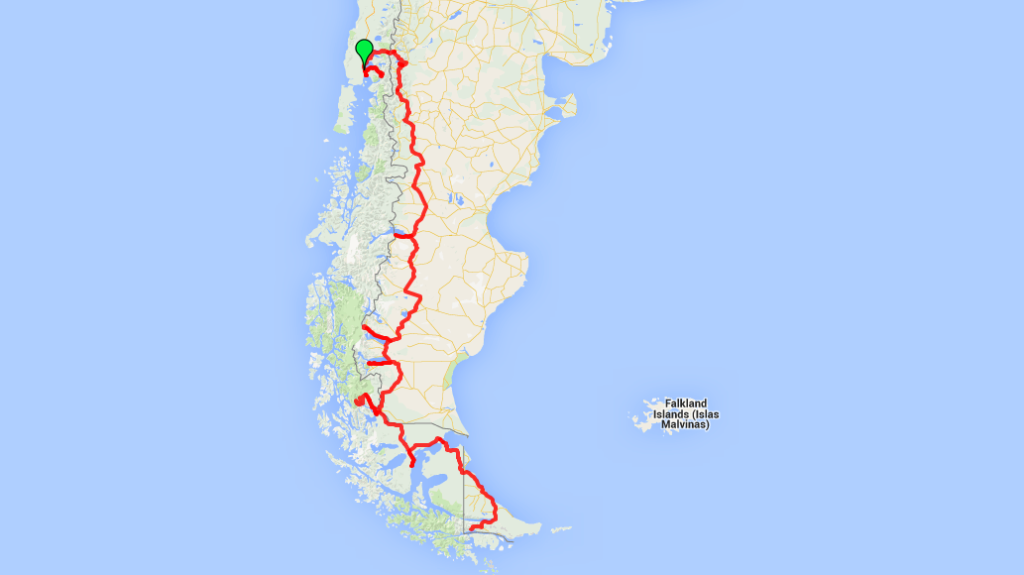 route map from Puerto Varas, Chile to Ushuaia
