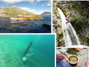 Collage of waterfall jump, kayaking, mate, and snorkeling in Lake Epuyen