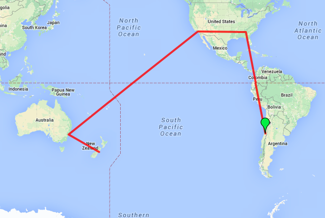 Route map from Santiago to Atlanta to LA to Sydney to Christchurch