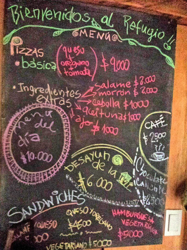 Refugio Cochamo menu