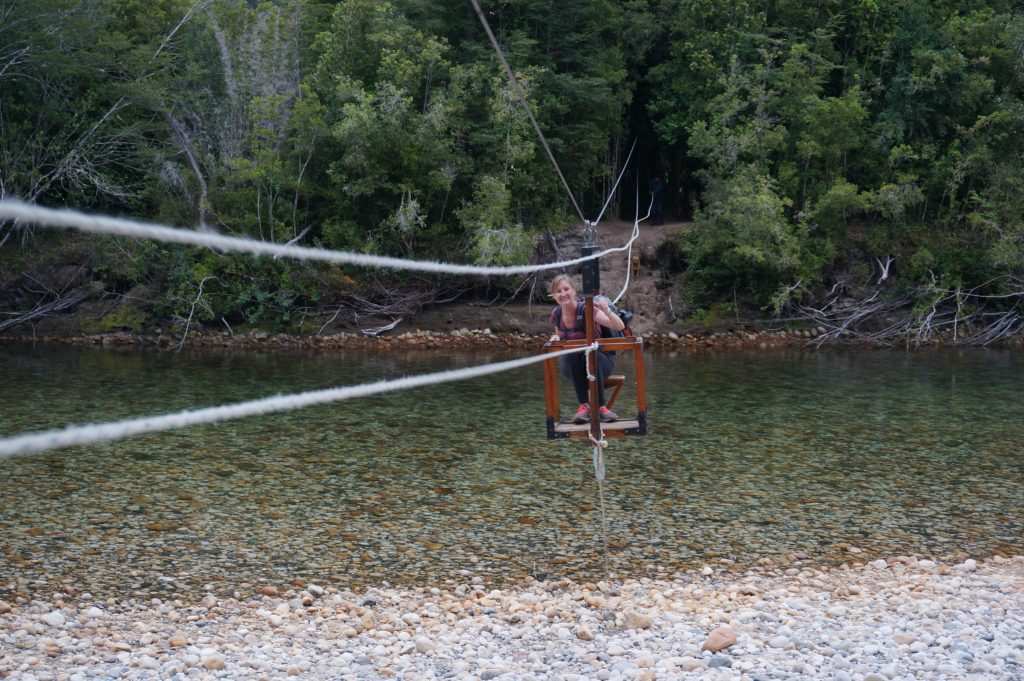 River pulley crossing to Cochamó Refugio