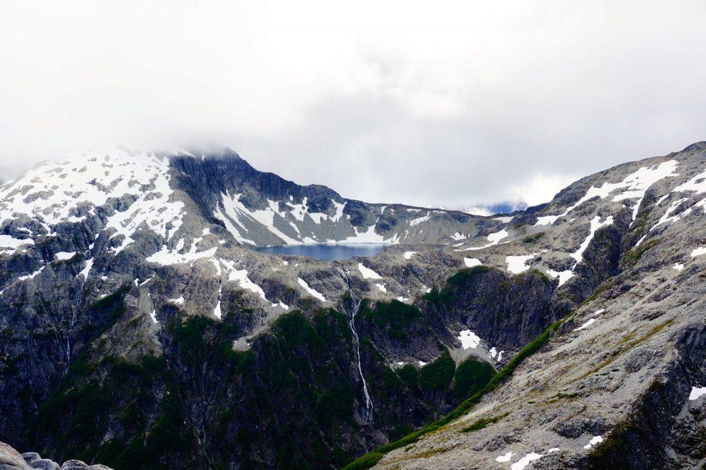 Alpine Lake and waterfall