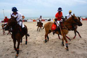 Thailand plays India in beach polo