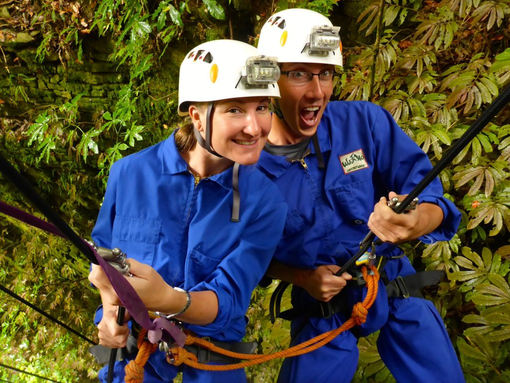 Heather & John both abseiling down into the lost world