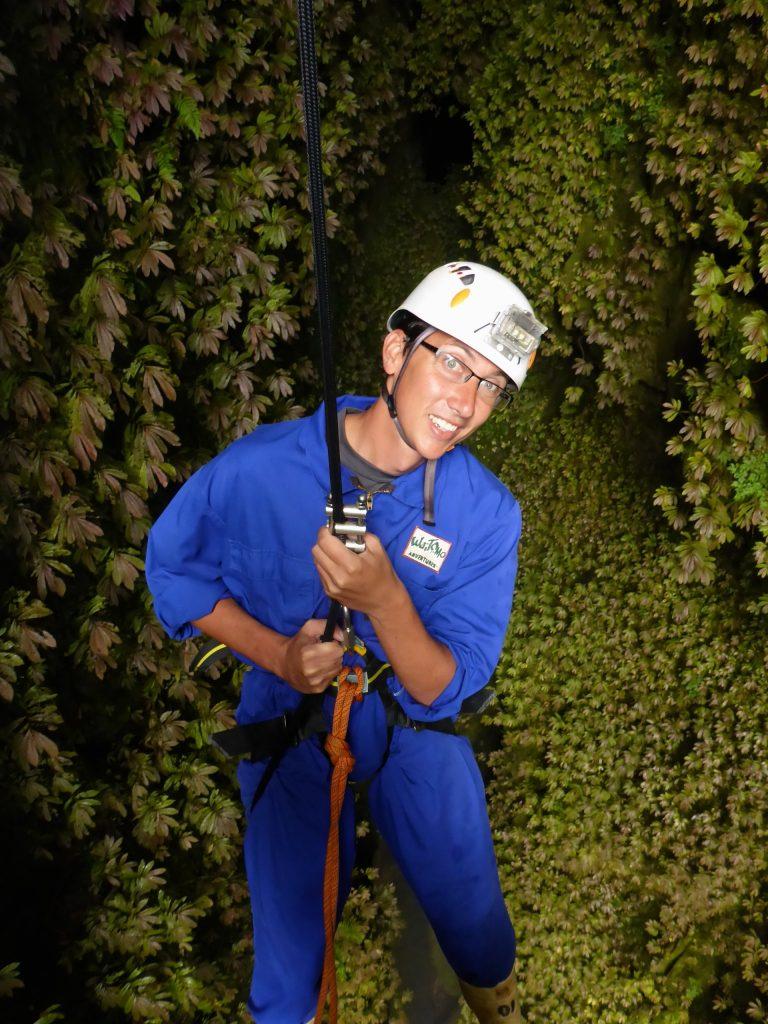 John descending down into the lost world