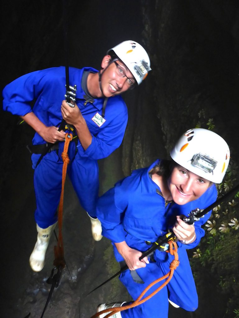 John & Heather rappel 100 meters into the lost world cave