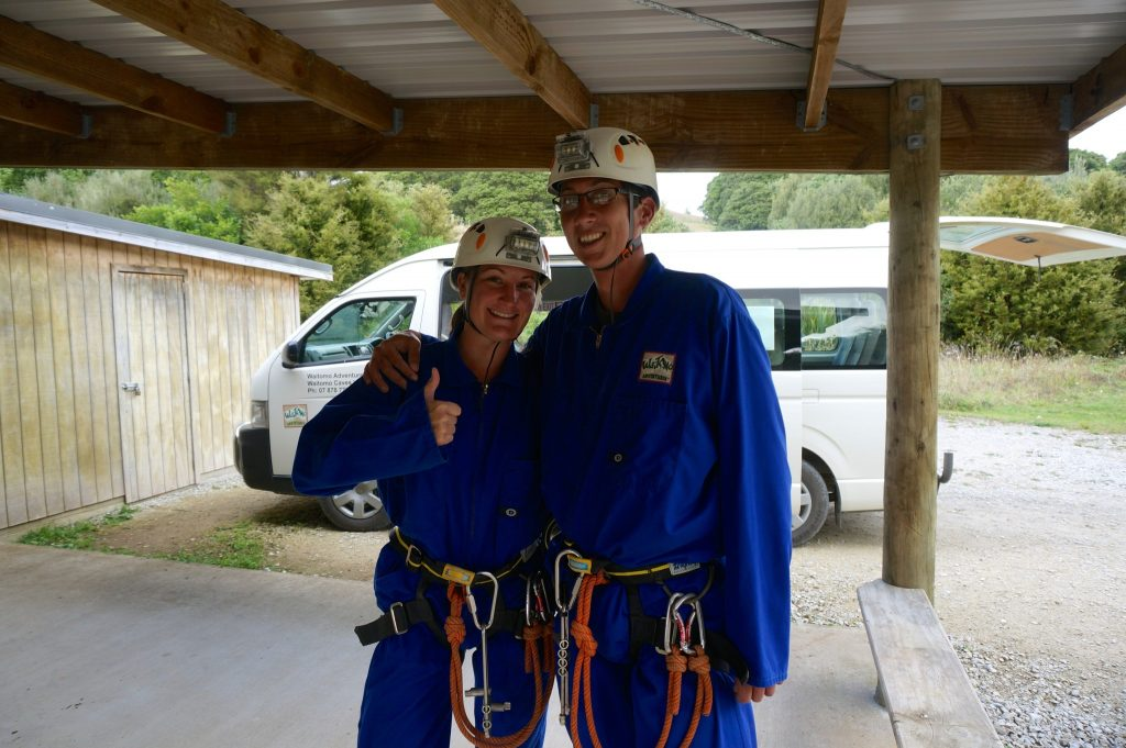 John & Heather getting caving gear on before entering Lost World