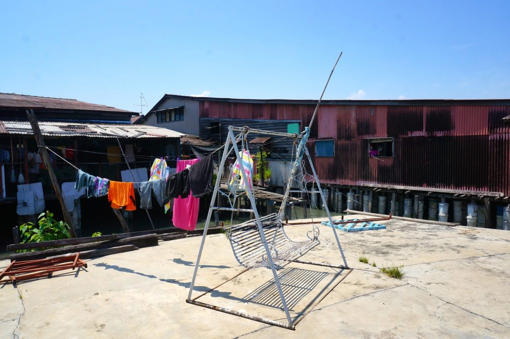 drying clothes at Clan Jetty