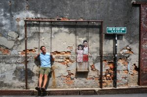 """""""Children on the Swing"""" street art in Penang, Malaysia"""