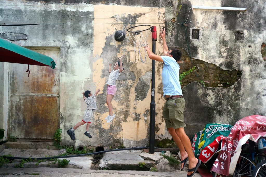 Children Playing Basketball street art in George Town Penang Malaysia