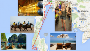 Map of our route and itinerary through Thailand