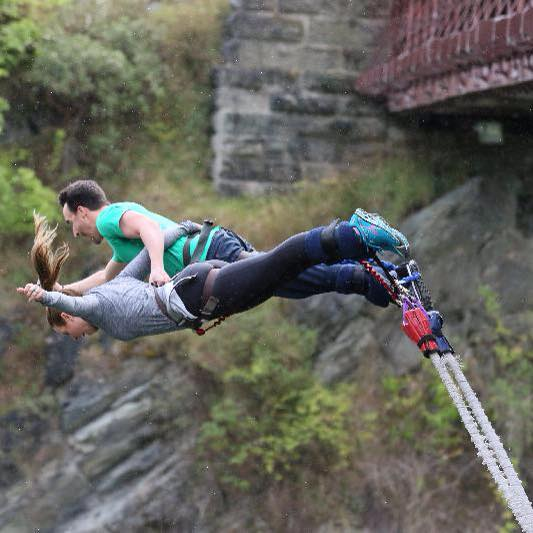 Kristen and Erik bungy jump off AJ Hackett Kawarau Bridge