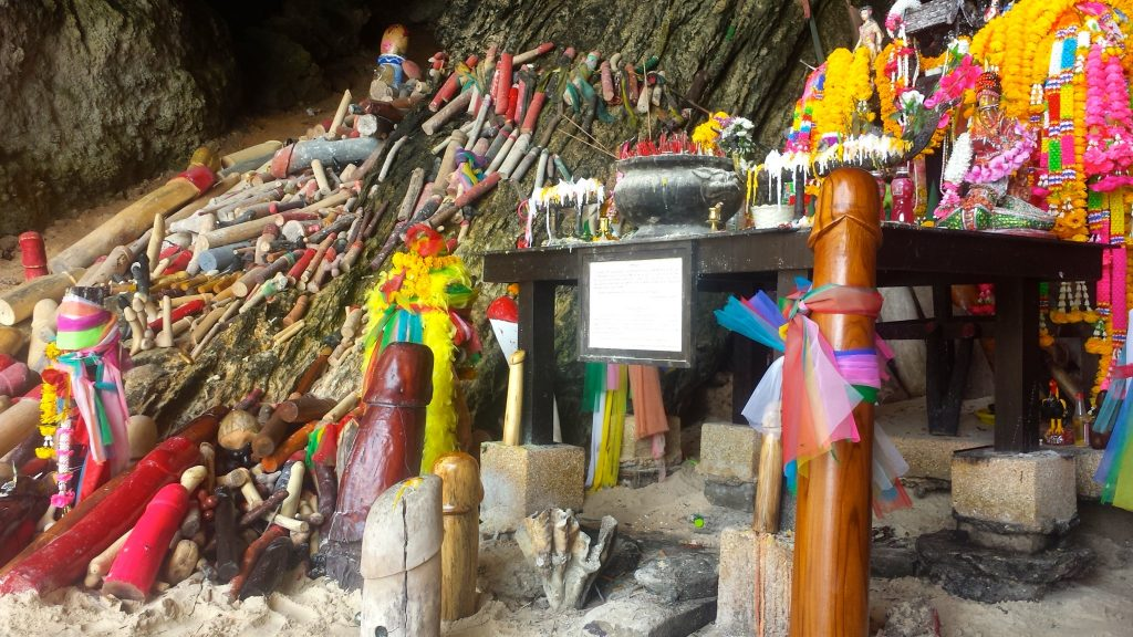 Phra Nang Cave or Princess Cave has a shrine of phalluses in Railay Beach
