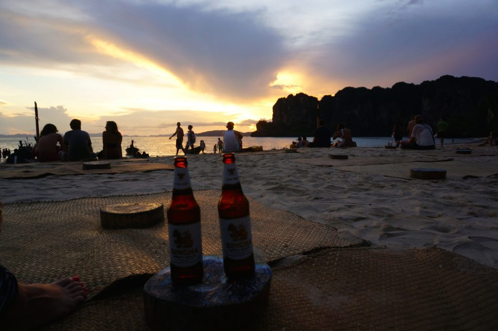 Thai beers at Flame Tree bar in Railay Beach