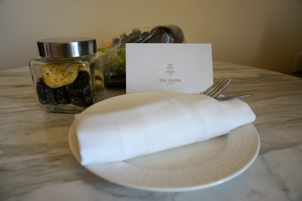 welcome note and cookies at The Danna Langkawi luxury resort