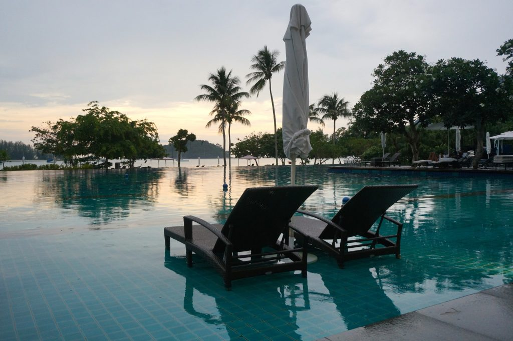 Lounge chairs at Danna Langkawi infinity pool