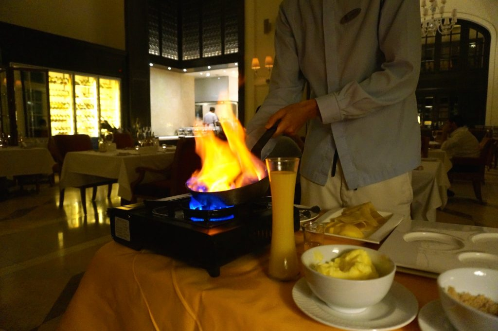 The french tradition of tableside flambé is performed at The Danna Langkawi's Planters restaurant