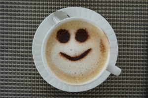cappuccino art with smile in foam