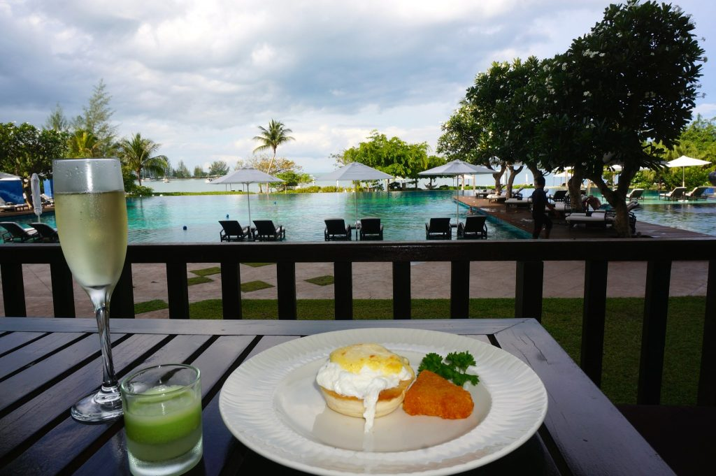 Poolside champagne breakfast at The Danna Langkawi
