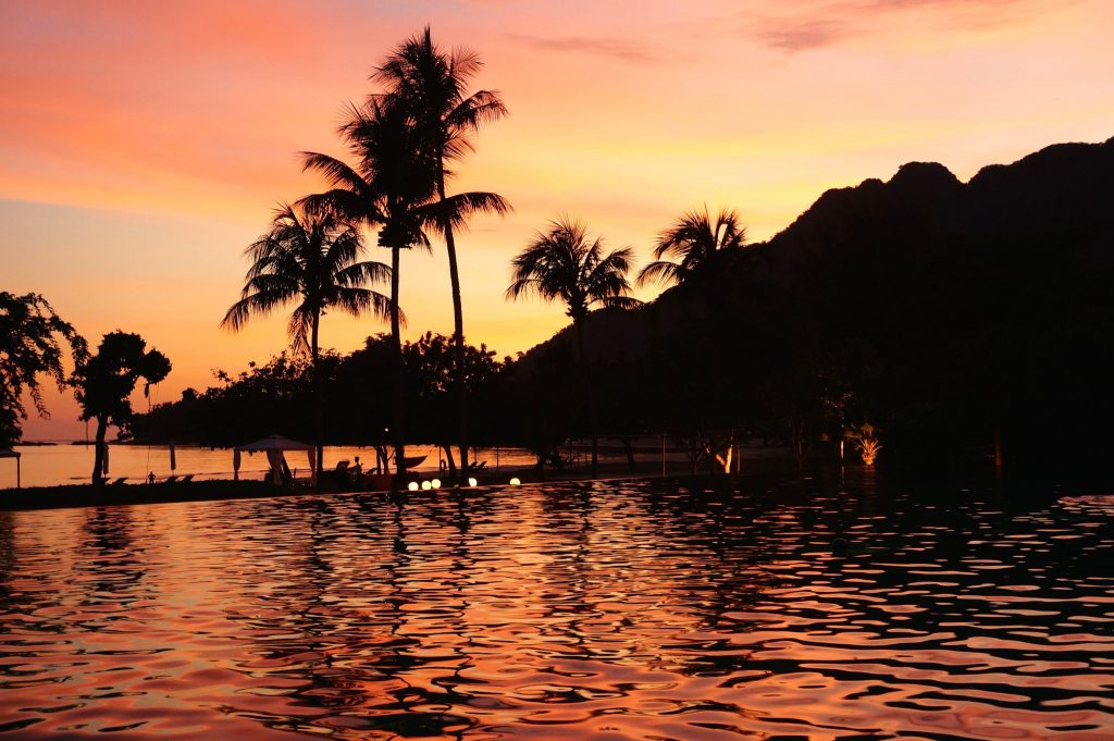 Danna Langkawi sunset by the pool