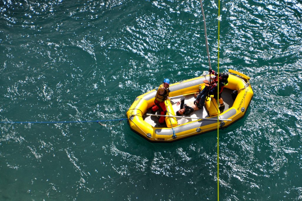 In the small boat in the Kawarau River, having successfully completed the bungy jump