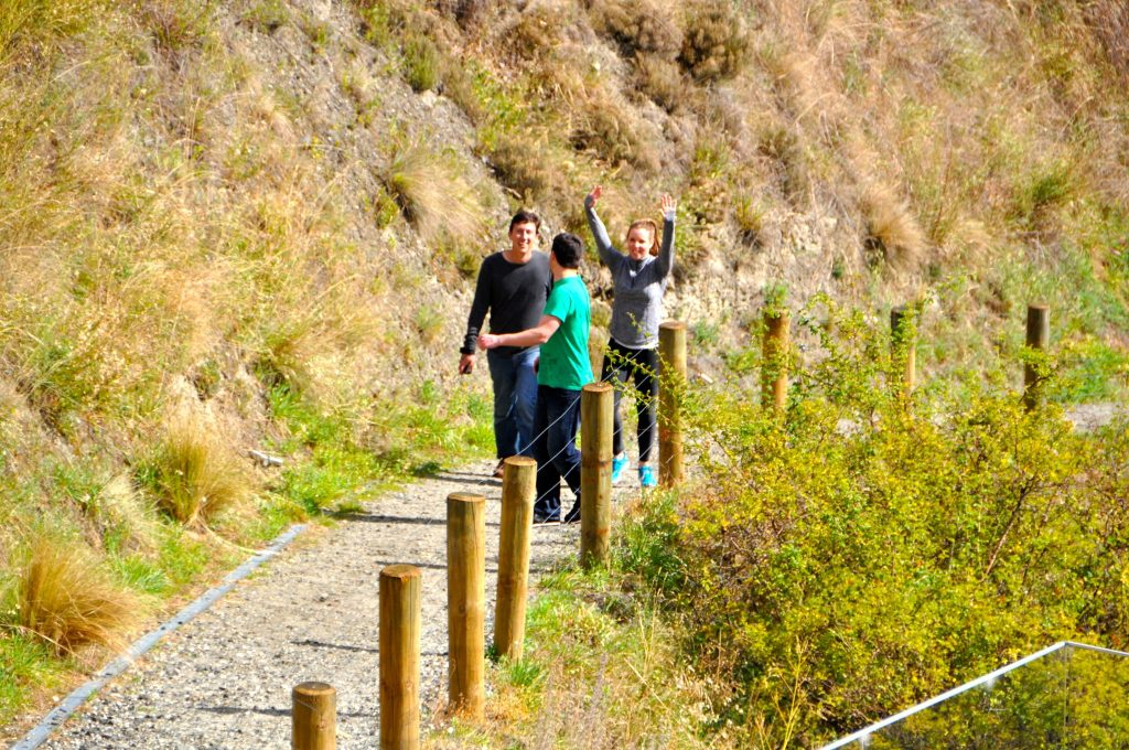 Walking up path from Kawarau river after bungy jump