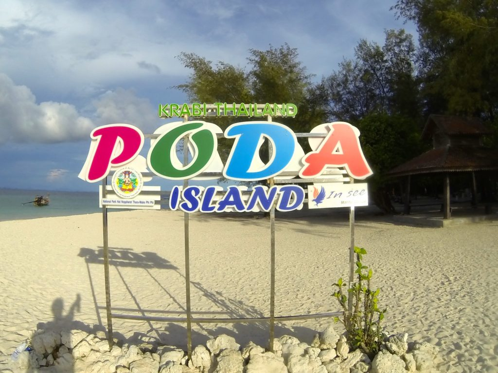 Poda Island sign during our 4th stop of the 4-island tour from Railay