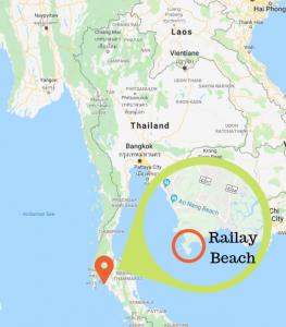 location of Railay Beach Thailand on a map