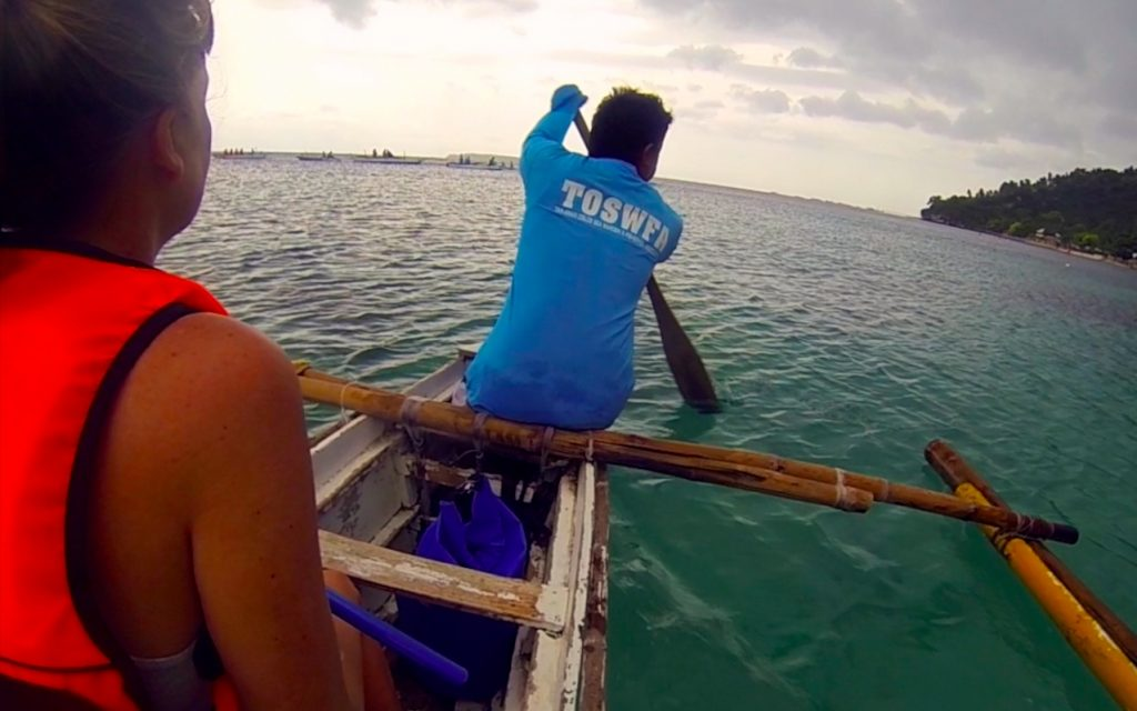 Being paddled out in a boat off of Oslob