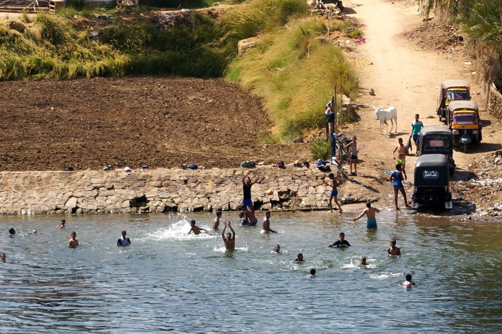 Kids swimming in the Nile River of Egypt