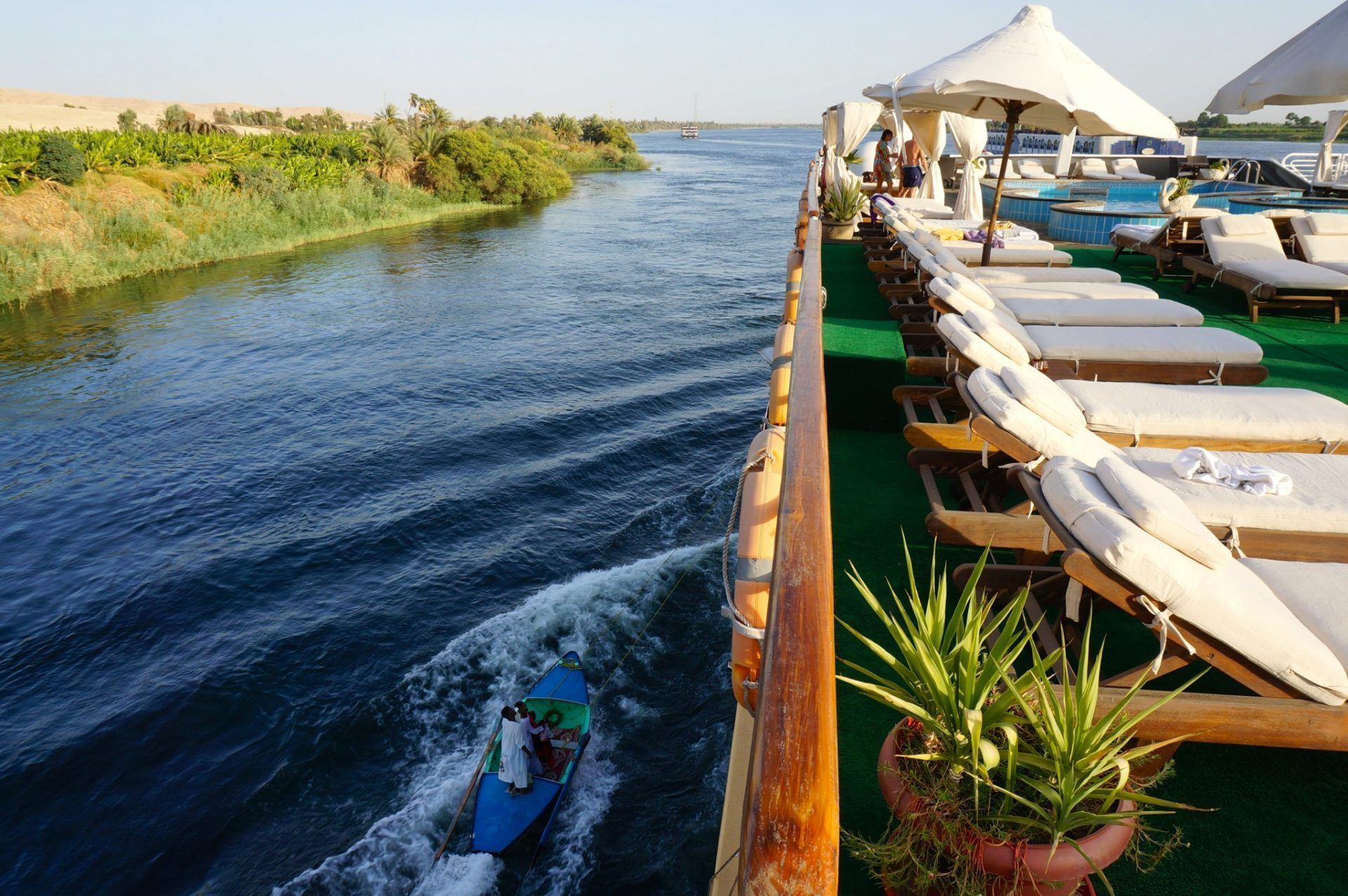 Cruise itinerary reviews - M S Amarco Ii Nile Cruise Top Deck And Nile Shore Line While Cursing Down