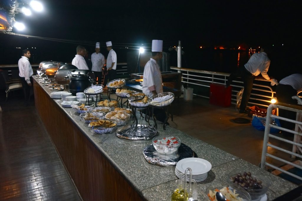 M/S Amarco II Nile Cruise bbq night buffet station on the top deck of the river cruise ship
